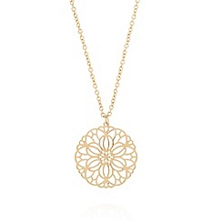 The Collection - Gold plated cutout flower disc pendant necklace