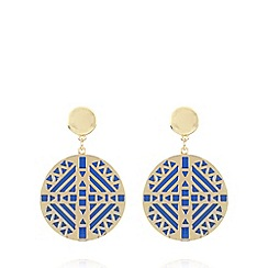 The Collection - Gold cutout colour earrings