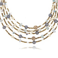 The Collection - Turquoise faceted and pearly beaded multi row necklace