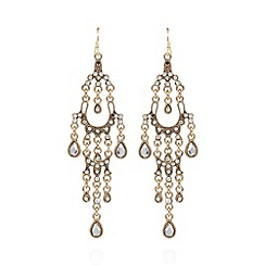 The Collection - Gold plated stone chandelier drop earrings