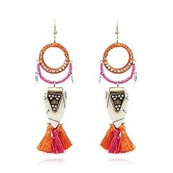Floozie by Frost French - Orange tassel drop earrings