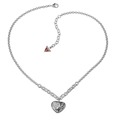 Guess - Silver concave crystal heart necklace