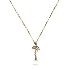 Floozie by Frost French - Gold plated palm tree pendant necklace