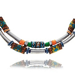 Floozie by Frost French - Blue aztec multi row necklace