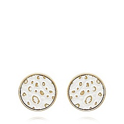 The Collection - Gold plated snakeskin disc earrings