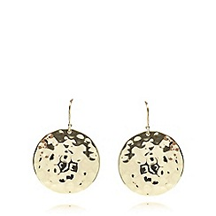 The Collection - Gold plated hammered disc earrings