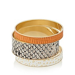 The Collection - Pack of three gold plated snakeskin bracelets