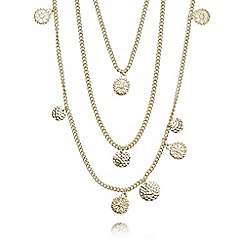 The Collection - Gold plated coin charm multi chain necklace