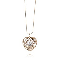 The Collection - Gold plated stone heart long necklace