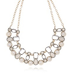 The Collection - Gold plated short chain stone necklace