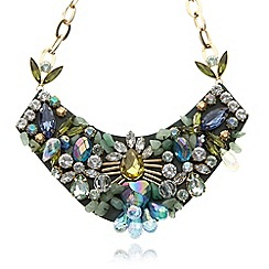 The Collection - Turquoise faceted stone bib necklace