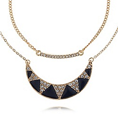 The Collection - Gold plated stone crescent pendant necklace