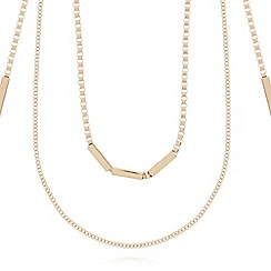 The Collection - Gold plated multi row bar necklace