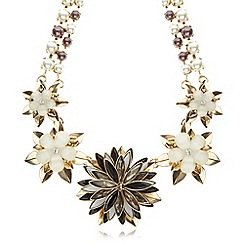 The Collection - Gold plated floral pearly beaded necklace