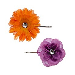 The Collection - Set of two purple and orange flower hair slides