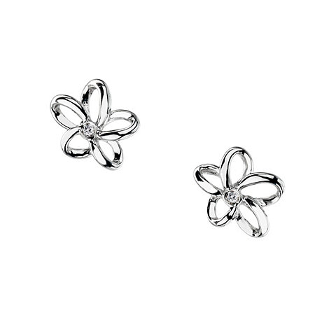 Hot Diamonds - Silver +paradise plumeria+ earrings