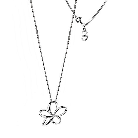 Hot Diamonds - Silver 'paradise plumeria' necklace
