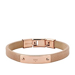 Fossil - Vintage Iconic leather cuff in nude with rose gold-tone classic logo plate