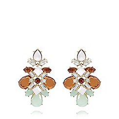 The Collection - Gold plated bloom stone chandelier earrings