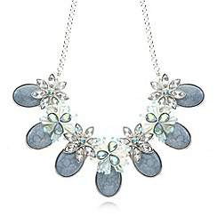 The Collection - Silver plated floral cluster stone necklace