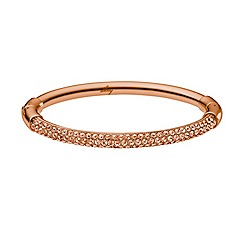 DKNY - Sparkle rose gold IP stainless steel hinge bangle with clear stones
