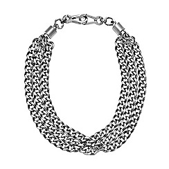 DKNY - Chambers silver-tone stainless steel chain statement necklace