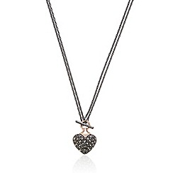 Pilgrim - Rose gold plated embellished heart necklace