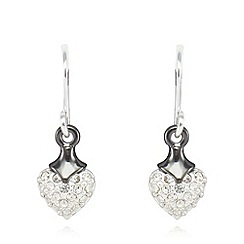 Pilgrim - Silver plated embellished heart earrings