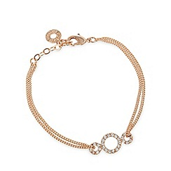 Pilgrim - Rose gold plated embellished triple ring bracelet