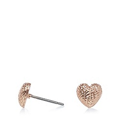 Pilgrim - Rose gold textured heart stud earrings