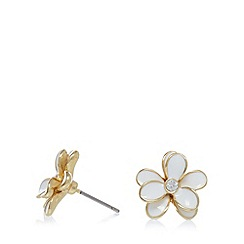 Pilgrim - Gold plated floral stud earrings