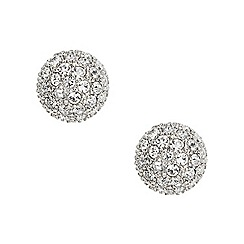 Fossil - Ladies silver-tone pave ball Stud