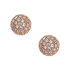 Fossil - Ladies rose gold-tone pave ball Stud