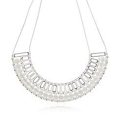 Pilgrim - Silver plated beaded bib necklace