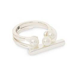 Pilgrim - Silver plated pearly bar detail ring duo