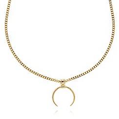 Pilgrim - Gold plated crescent pendant necklace