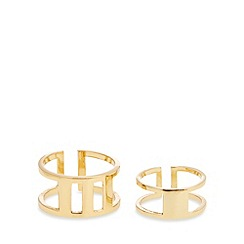Pilgrim - Gold plated grid ring duo