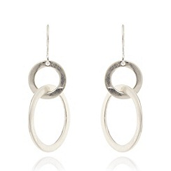 Pilgrim - Silver plated dropped hoop earrings