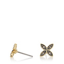 Pilgrim - Gold plated clustered leaf stud earrings