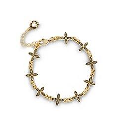 Pilgrim - Gold plated leaf stone bracelet