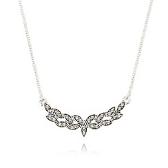 Pilgrim - Silver plated short leaf cluster necklace
