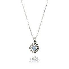 Pilgrim - Blue flower opal silver plated necklace