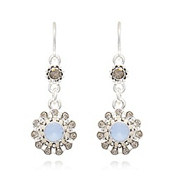 Pilgrim - Blue flower opal drop earrings