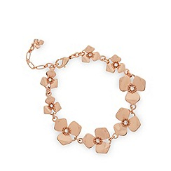 Pilgrim - Rose gold plated floral stone necklace