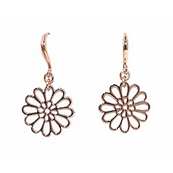 Finesse - Rose gold plated flower hook earrings