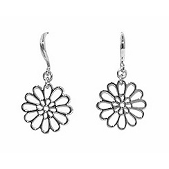 Finesse - Silver flower hook earrings