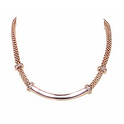 Finesse - Rose gold plated mesh and crystal necklace