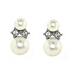 Finesse - White double pearl & swraovski crystal earrings