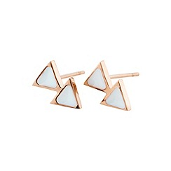STORM - Ladies rose gold enamel triangular earrings