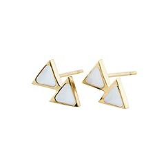 STORM - Ladies gold enamel triangular earrings